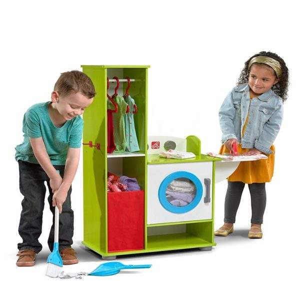 clean sweeps wooden kitchen for kids