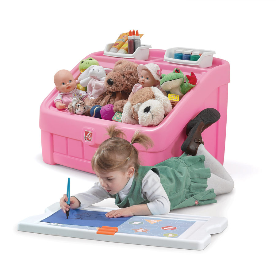 Carnival Toy Box Pink: 2-in1 Toy Box & Art Lid