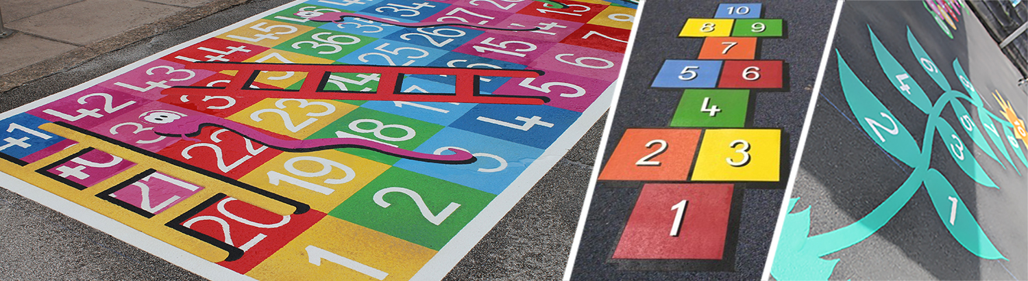 NOW AVAILABLE! Floor markings for your playground